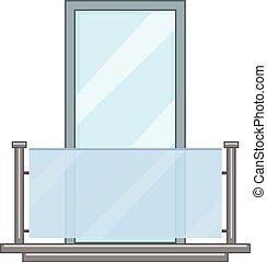 Glass balcony icon, cartoon style - Glass balcony icon....