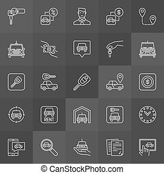 Car rental icons collection - vector rent a car outline...
