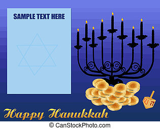 Happy HanukkahChanukah Background, including Menorah,...