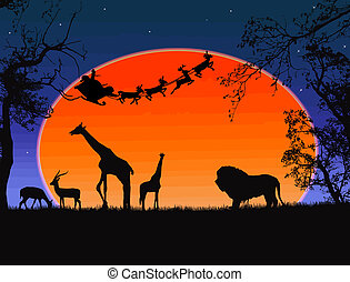 Santa Claus in Africa - silhouettes of wild animals and...