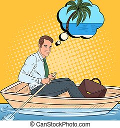 Pop Art Happy Businessman Floating in the Boat and Dreaming...