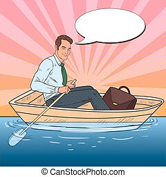 Pop Art Businessman Floating in the Boat. Summer Vacation....