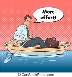 Pop Art Happy Businessman Floating in the Boat. Summer...