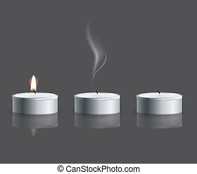 Vector realistic tea candle with fire, extinguished candle...