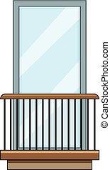 Rail balcony icon, cartoon style - Rail balcony icon....