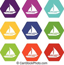 Sailing yacht icon set color hexahedron