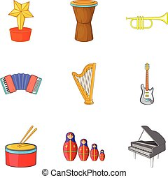 Musical notation icons set, cartoon style - Musical notation...
