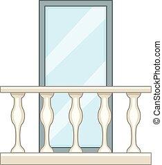Decorative balcony icon, cartoon style - Decorative balcony...