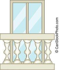 Ornamental balcony icon, cartoon style - Ornamental balcony...
