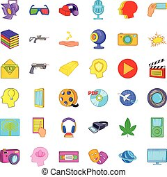 Virtualization icons set, cartoon style - Virtualization...