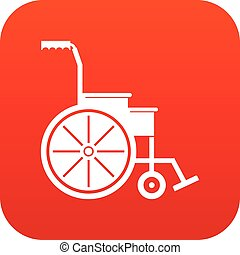 Wheelchair icon digital red for any design isolated on white...