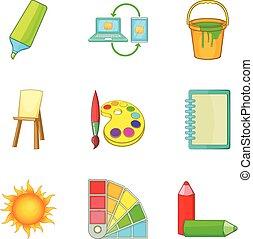 Color scheme icons set, cartoon style