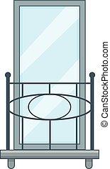 Railing balcony icon, cartoon style - Railing balcony icon....