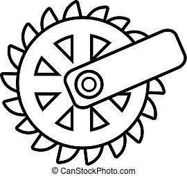 Mining cutting wheel icon , outline style - Mining cutting...