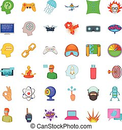Virtual reality icons set, cartoon style - Virtual reality...