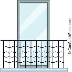 Big balcony icon, cartoon style - Big balcony icon. Cartoon...