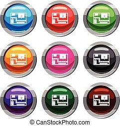 Navigator set 9 collection - Navigator set icon isolated on...