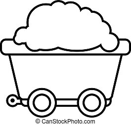 Mining cart icon , outline style