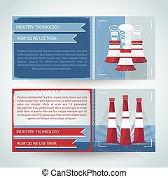Industry Horizontal Banners - Horizontal banners in red blue...