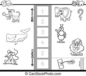 biggest animal game coloring book - Black and White Cartoon...