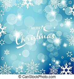 Blue Christmas background with snowflakes and Merry Christmas text.