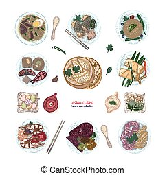 Collection of hand drawn colorful dishes of Asian cuisine...