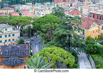 Beautiful sunset view from top to a road in Santa Margherita...