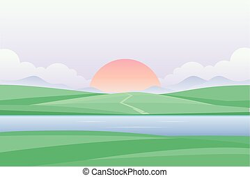 Sunset or dawn by the river - modern vector illustration -...