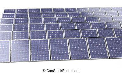 Group of solar panels on white background