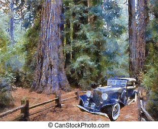 Vintage cars (oil painting)