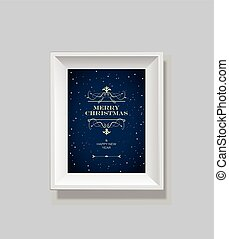 Merry Christmas wishes in framed picture.