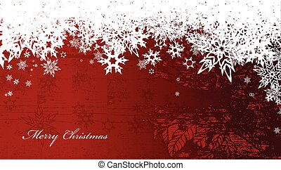 Abstract background with snowflakes and Merry Christmas text...