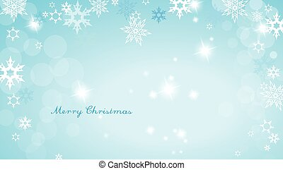 Turquoise Christmas background with snowflakes and simple...