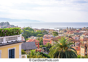 Morning view from above to cloudy day in Santa Margherita...
