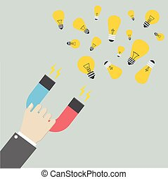 Magnet attracting Ideas - minimalistic illustration of a...