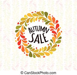 Autumn foliage wreath poster. Seasonal sale label. Vector...