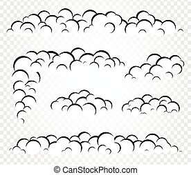 Isolated vector clouds steam or smoke, foam template for...