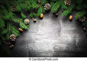 Christmas and New Year background. Christmas tree branch on...