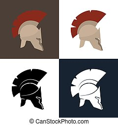 Color and Silhouette Greek Helmet - Set of Four Kind Roman...