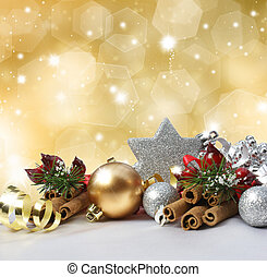 Christmas background - Christmas decorations on a glittery...
