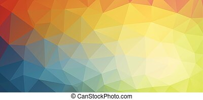 Horizontal bright color background with triangle shapes for...