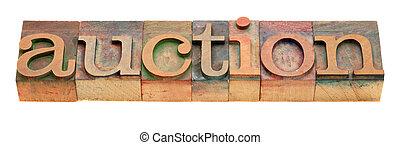 auction word in letterpress type
