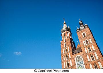 Saint Mary Basilica in city center of Krakow, Poland -...
