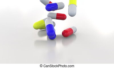 Falling multicolor drug capsules or pills - Falling drug...