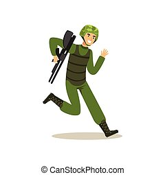 Infantry troops soldier character in camouflage combat uniform running with weapon vector Illustration