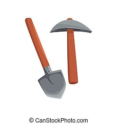 Shovel and pickaxe tools, mining industry equipment cartoon...