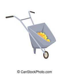 Trolley with gold ore, mining industry concept cartoon...
