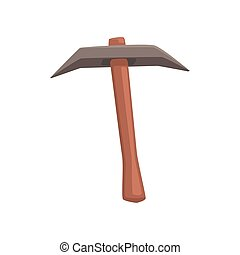 Pickaxe tool, mining industry equipment cartoon vector...