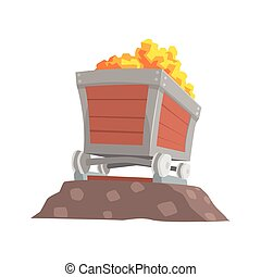 Retro wooden wagon with gold ore, mining industry concept...