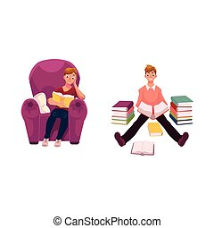 Man reading a book in armchair and on the floor